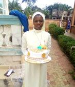 An eldery nun in church