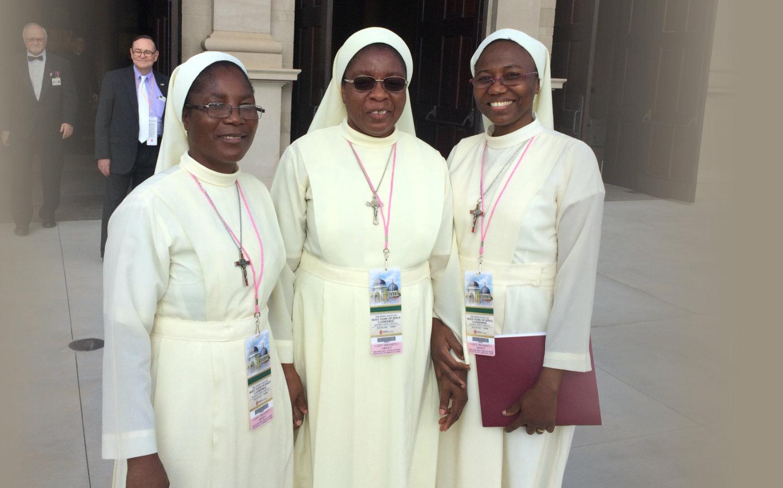An elderly nun and elderly priest